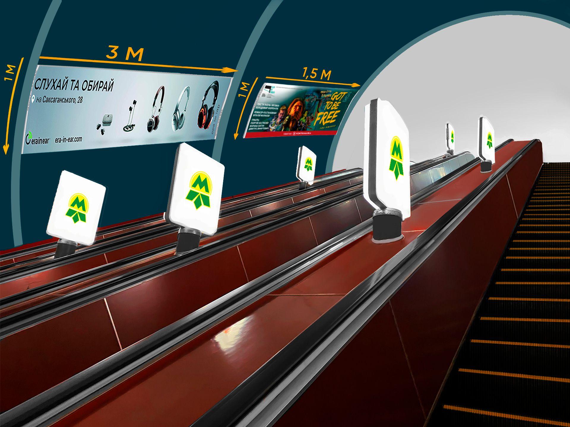 Маємо декілька доступних розмірів плакатів для розміщення вашої реклами на ескалаторних схилах київського метро!